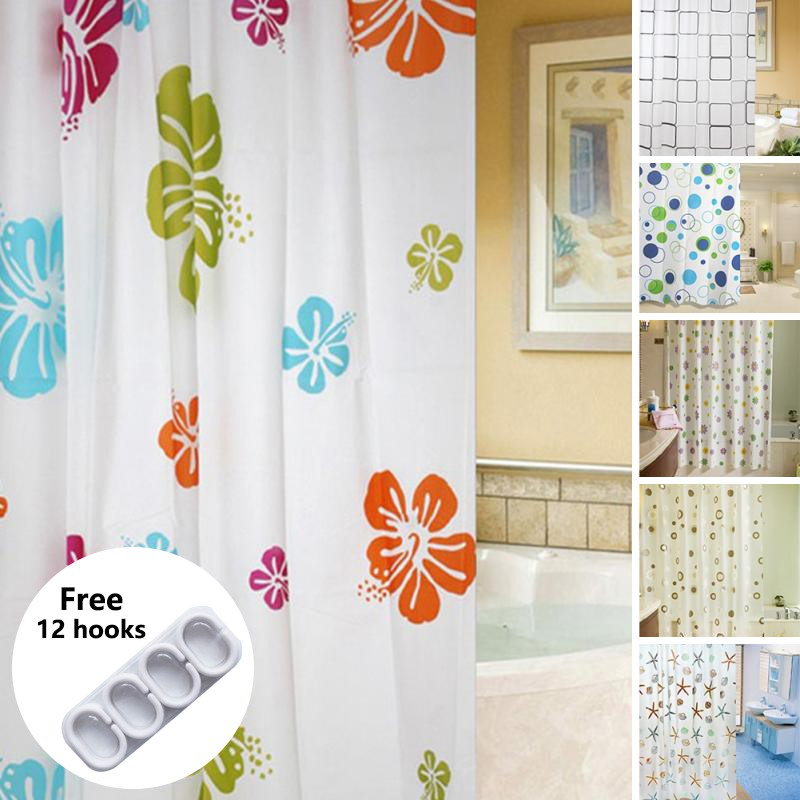 Waterproof Bathroom Liners Shower Curtain PEVA Modern Curtain with 12 Hooks Set