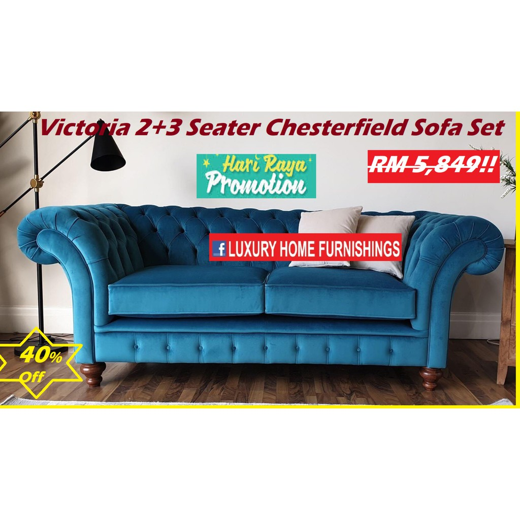VICTORIA,  2 + 3 CHESTERFIELD SERIES  SOFA SET, IMPORTED FIBER GUARD FABRIC, FACTORY DIRECT OFFER!! RM 5,849!! 40% Off!!