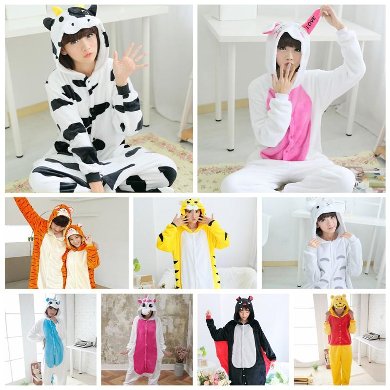 Unisex Adult Animal Kigurumi Pyjamas Sleepwear Dress Cow