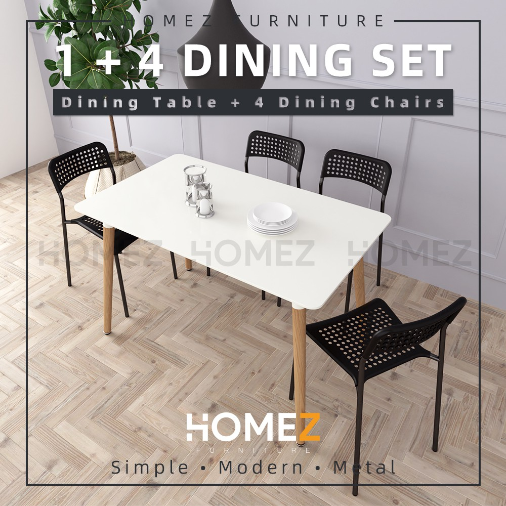Homez Modern Dining Table Set 1 Table + 4 Dining Chairs HMZ-FN-DT-T01-WT(12070)