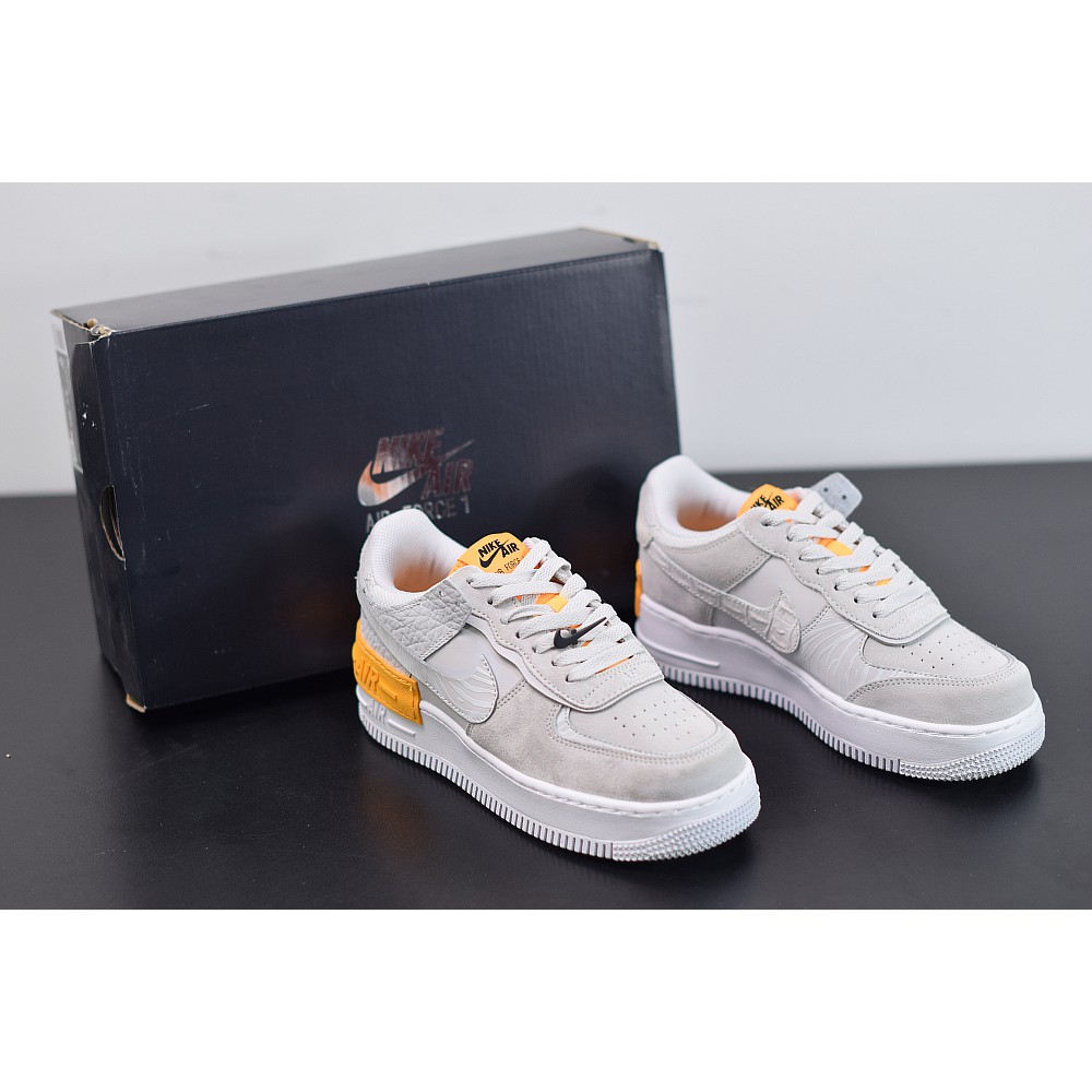 Nike Air Force 1 Shadow Vast Grey Laser Orange W Shopee Malaysia Engineered with lightweight nike air technology, men's air force 1 shoes help provide your feet with all day comfort and cushioning. nike air force 1 shadow vast grey laser orange w