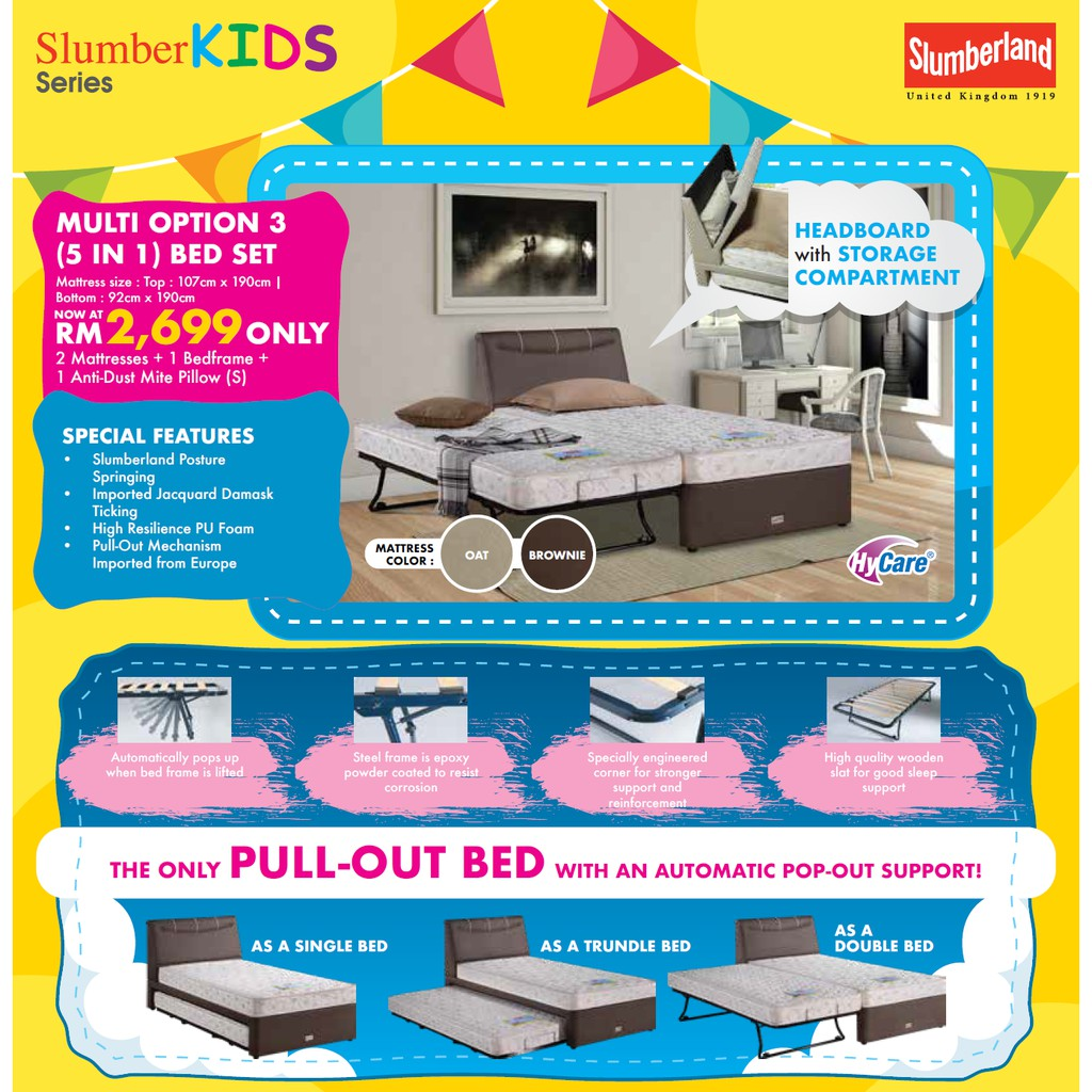 Slumberland 5 in 1 SUPER SINGLE & Single BEDS WITH MATTRESSES & PILLOWS!! FULL SET!! RM 4,489!! ENJOY 40% OFF!!