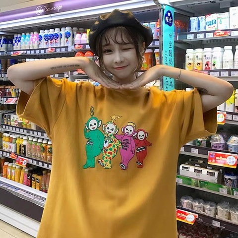 [M~2XL]Korean Oversized Cartoons Tshirt 港风大阪宽松短袖t恤女酷夏韩版原宿bf风怪味百搭上衣服潮