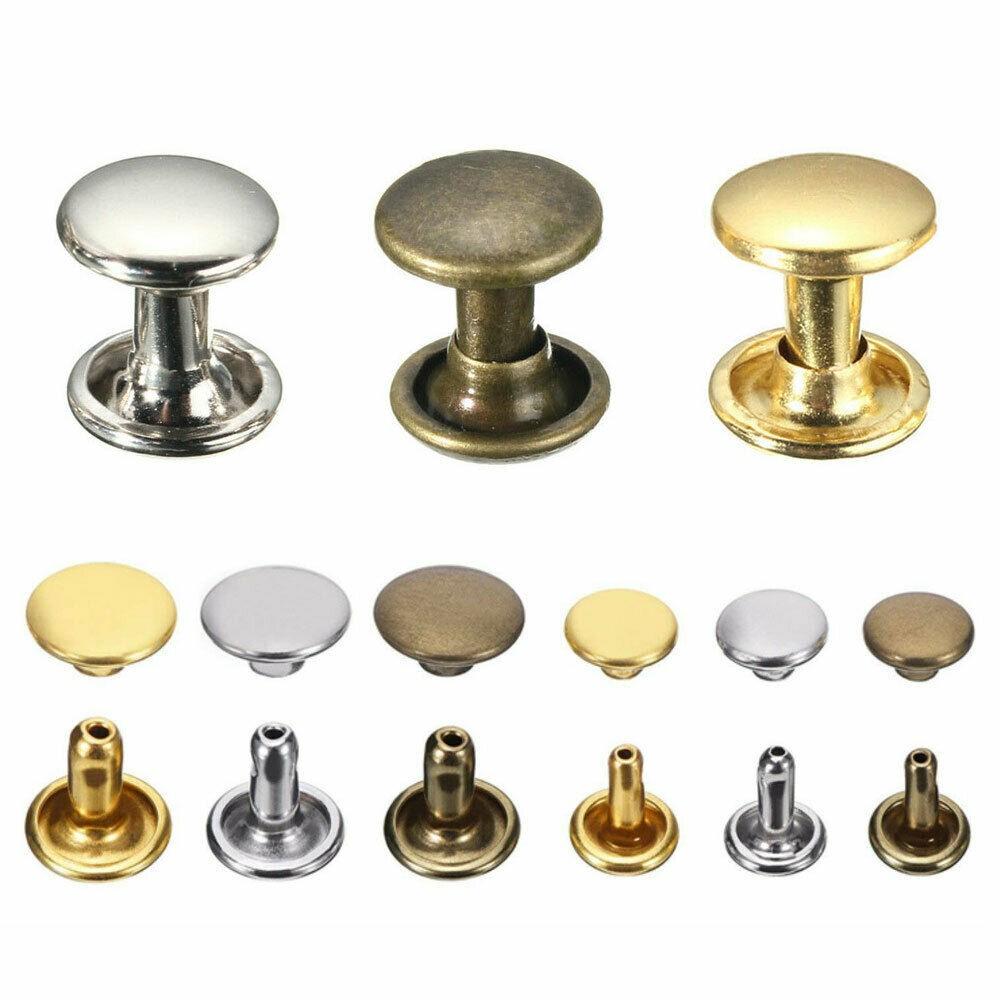100 Pcs 3 Sizes Brass Double Cap Leather Craft DIY Rapid Rivet Studs for Belts~P