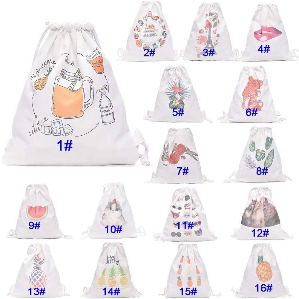 Women Backpack Canvas Drawstring Floral Pineapple Cat Lip Animal Printed Casual Preppy Travel School Bag (3)