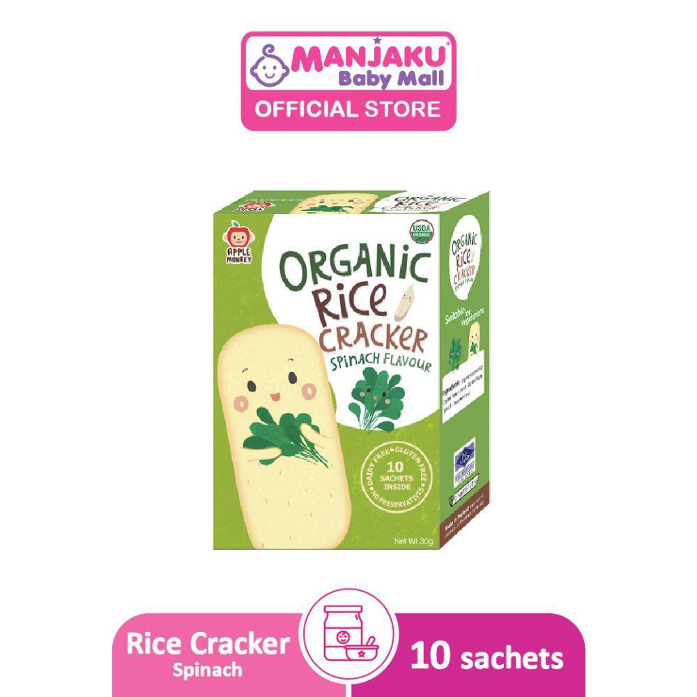 Apple Monkey Organic Rice Cracker 30g - Spinach