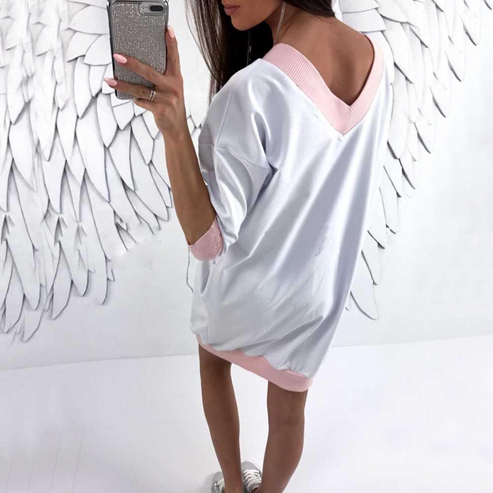 Fashion Women Plus Size V Neck Long Top Mini Dress Lace Splice Contrast Trim Casual Loose Jumper Dress (Pink)