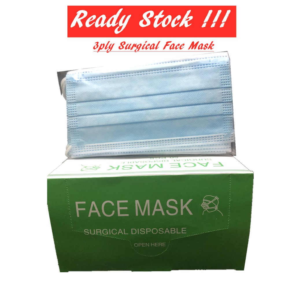 [STOCK READY] 50pc Grade A 3ply Surgical Protection Earloop Face Mask Anti-Germs (>99% Protection)