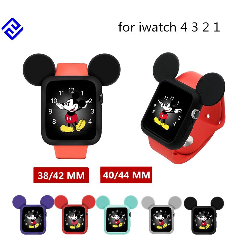 timeless design 4c5d6 405ee Cute Cartoon Protector Case For Apple smart Watch 38 42 Mm 40 44 Mm Watch  Series 4 3 2 1 mickey Soft Silicone Cover Kid