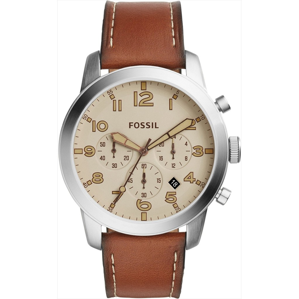 Fossil Pilot 54 Beige Dial Chronograph Leather Strap Mens Watch Fs5144 Fs5182 Set Dual Time Analog Digital Fs5174 Include With Tin Box Shopee Malaysia