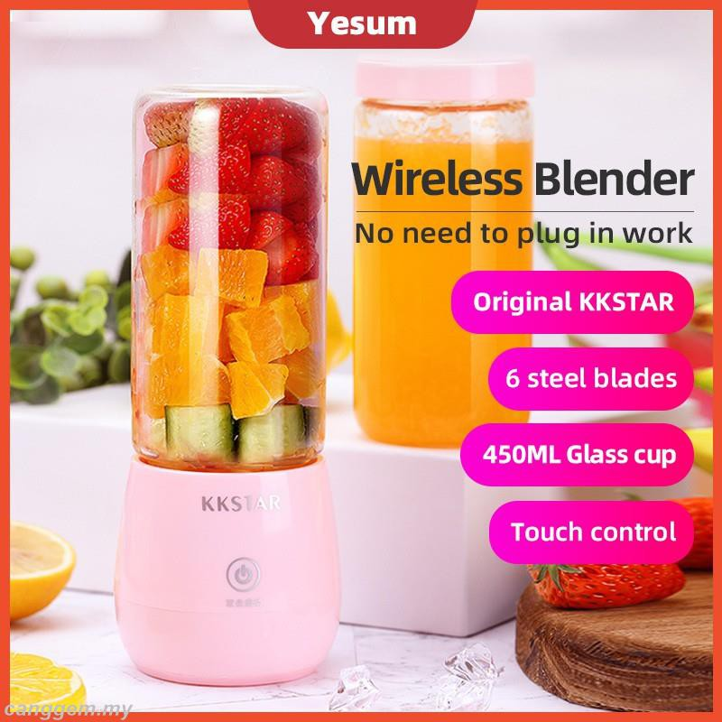【Latest】400ML Original KKSTAR Portable Usb Electric Waterproof Fruit Juicer Cup Bottle Mixer Rechargeable Juice Blender