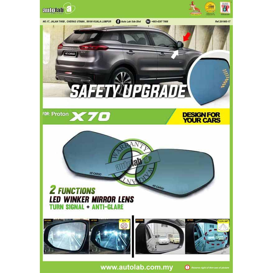 Side Mirror Lens with LED Indicator - Proton X70