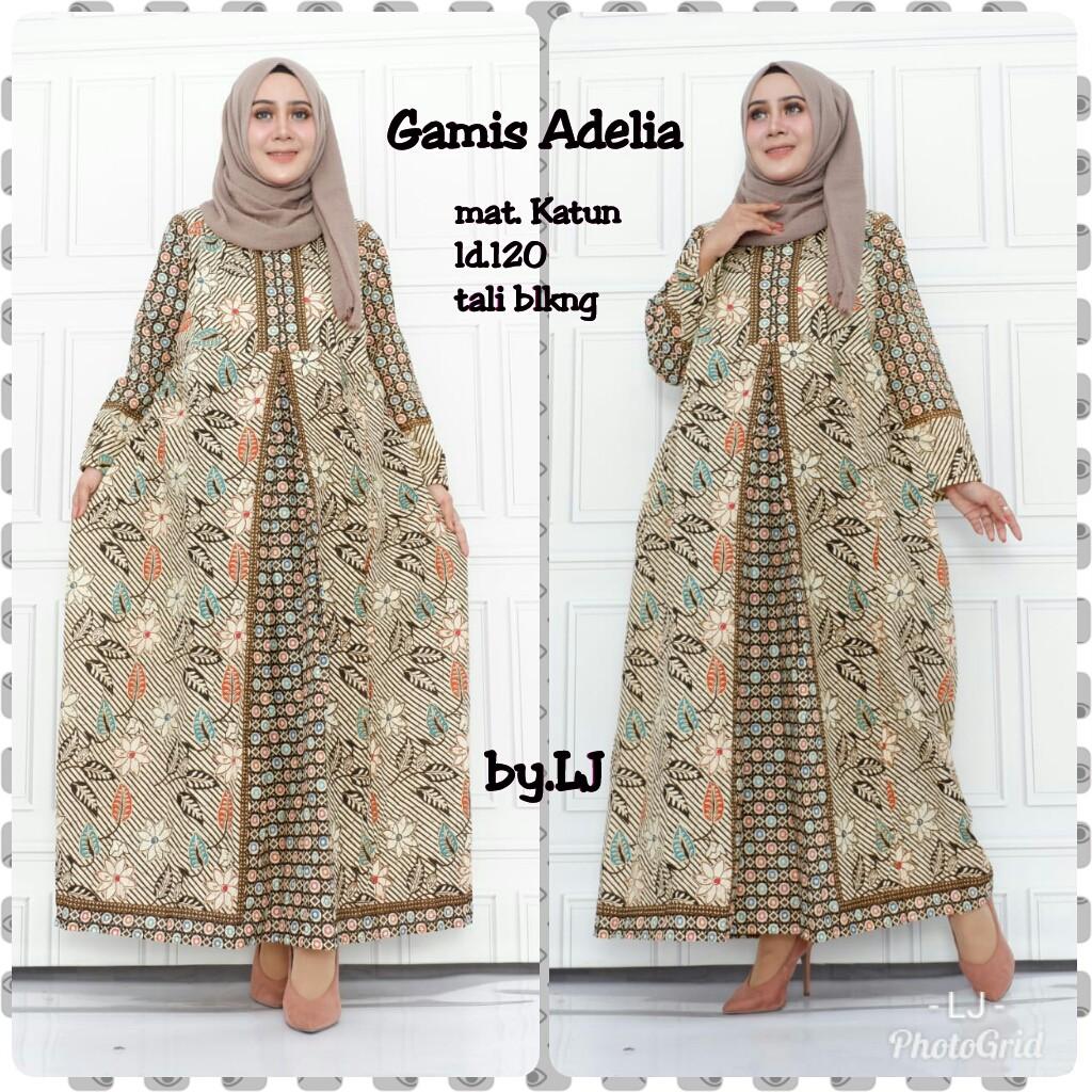 Gamis Adelia Batik Jumbo Big Size Muslim Maxi Sangan invitation party