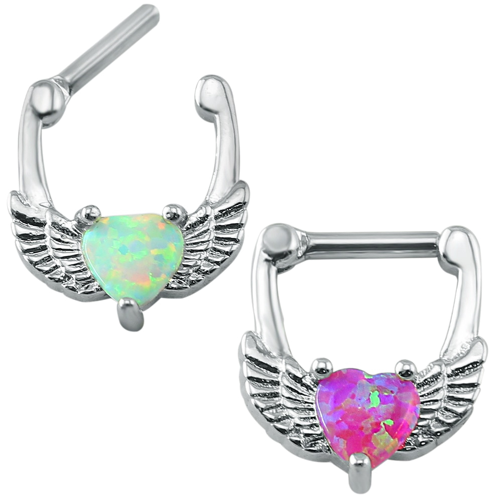 Stainless Steel Nose Ring 14g Cute Wing Opal Septum Clicker Ring
