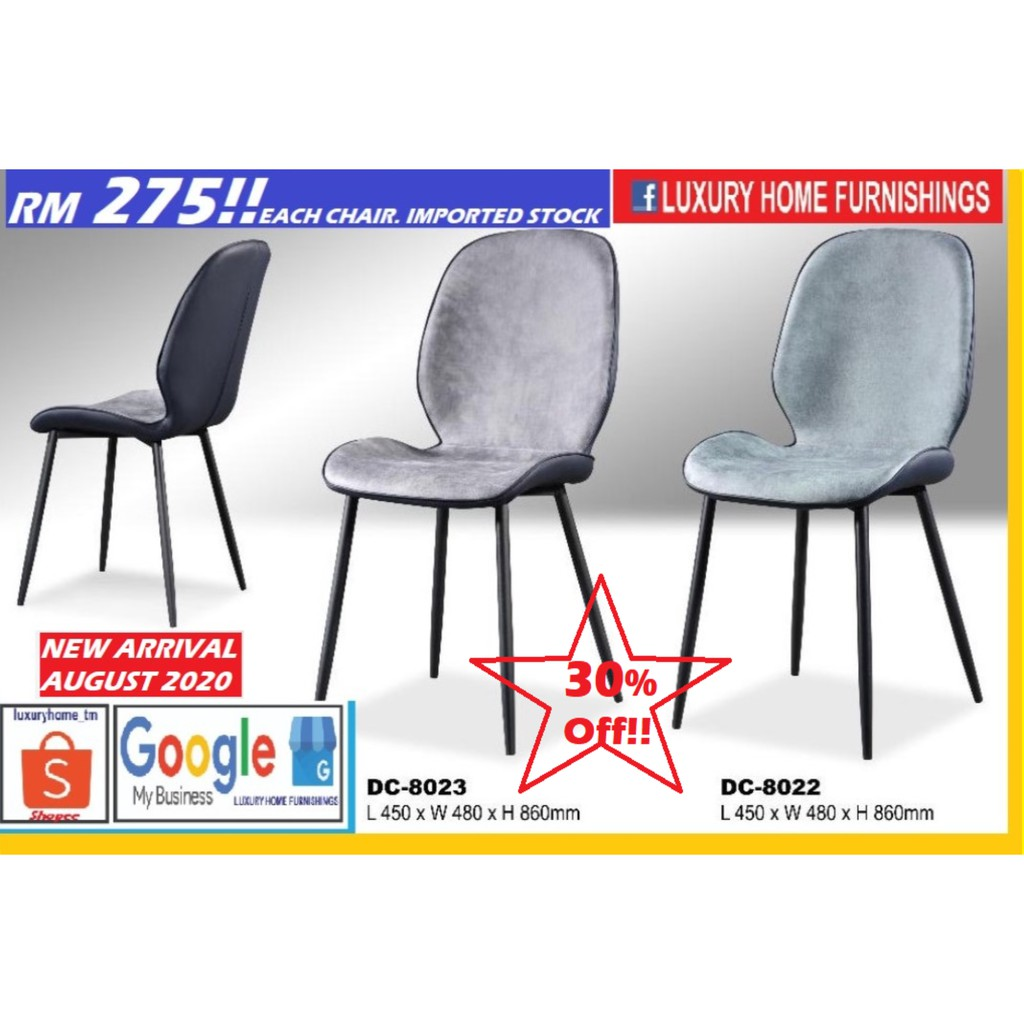 DINNING CHAIR, DESIGNER SERIES, WATER REPELLENT FABRIC, IMPORTED STOCK, AUGUST 2020 EDITION!! RM 275!! 30% OFF