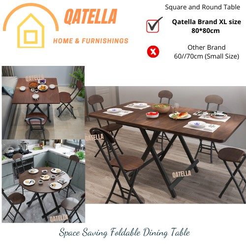 Qatella Foldable Table Dining Table Simple Folding Portable Table Stall Square Table Meja Lipat Meja Makan Dining Set