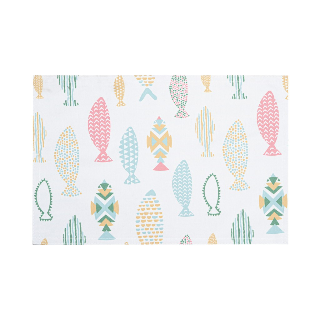 Fishes Printed Rectangle Placemats With Solid Lining. 30x45cm. Easy Care Polycotton. Multi-Color. (Set Of 2,4 Or 6)