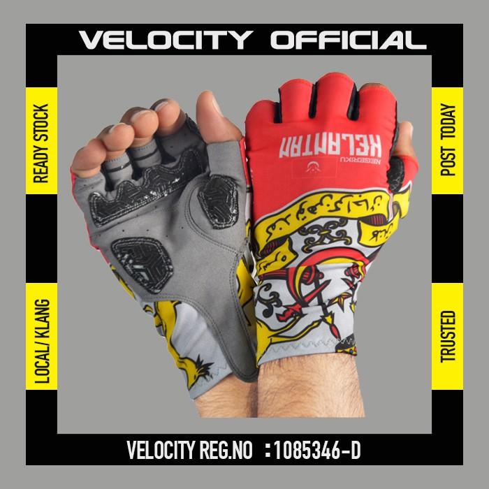 Cycling Glove Gel Velocity Glove Kelantan Half Finger Glove UV Protection Glove Stretchable Glove