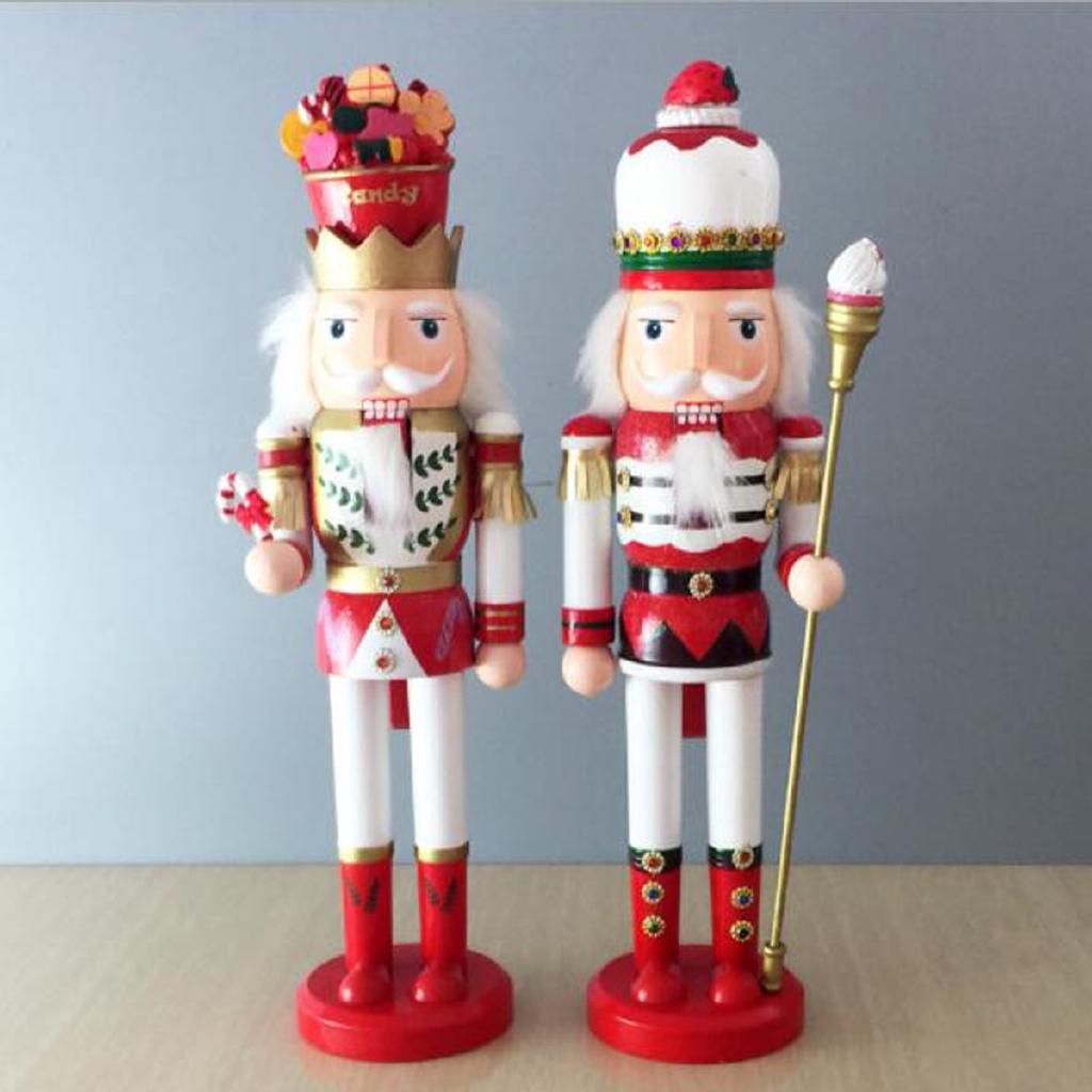 38CM Wooden Nutcracker Soldier Handcraft Walnut Puppet Toy Christmas Decor Gift
