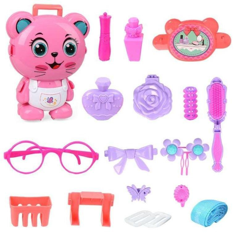 PET BACKPACK (CAT) BEAUTY MAKEUP DRESS UP PRETTY GIRL LOVELY STYLE FASHIONROLE PLAY 2 IN 1 BAG GIFTFOR GIRLS TOYS SET