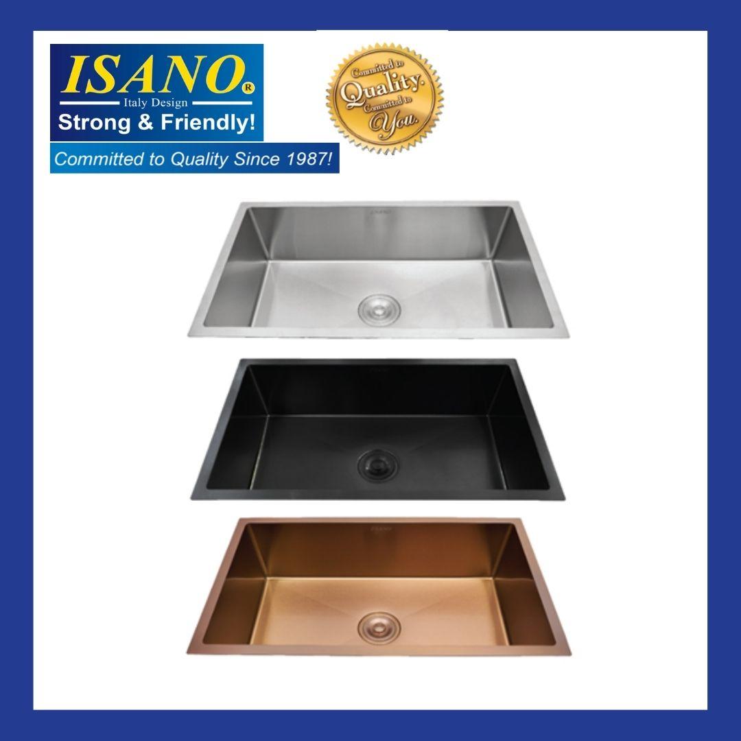 ISANO B7545NA / B7545BL / B7545RG Premium Nano Kitchen Sink Stainless Steel Under Mounted Single Bowl