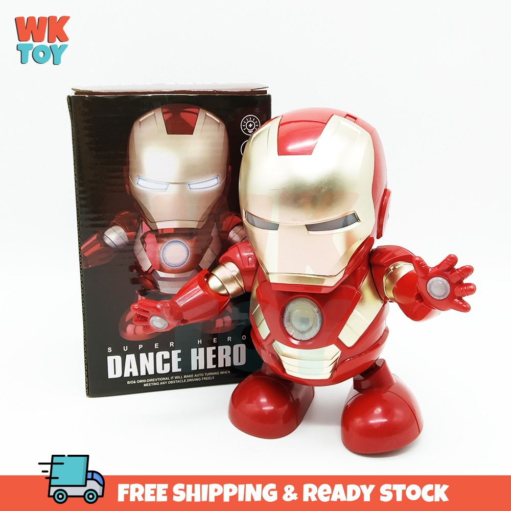 WKTOY Iron Man Luminous Dance Robot Super Hero Kids Toy With LED Music Dance