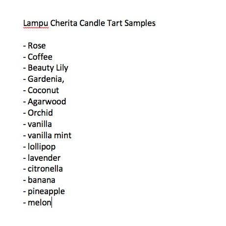 Lampu Cherita - Candle Tart Samples