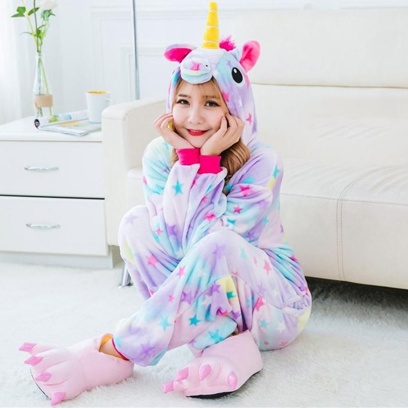 2018 Unisex Cartoon Kigurumi All In One Piece Pyjamas Pajamas Sleepwear Slippers