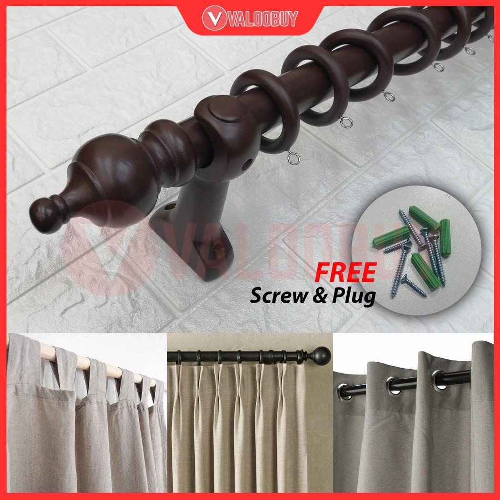 28mm Wooden Curtain Rod Set Style Kayu