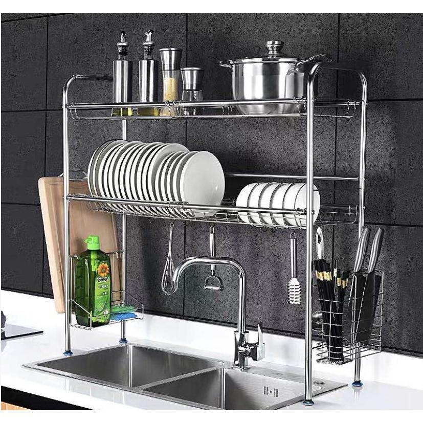 Rak Piring Rak Pinggan Stainless Steel Sink Dish Rack 1 2 Tier Stainless Steel Rak Pinggan 0153 0154 Shopee Malaysia