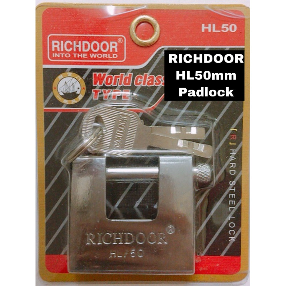 RICHDOOR Armoured Padlock Premium Quality Padlock Anti Cut Security Pillar HL50MM