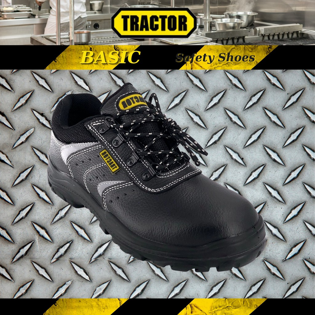 Tractor Men's Basic Black Leather Steel Toe Cap Lace Up Safety Shoes A8867