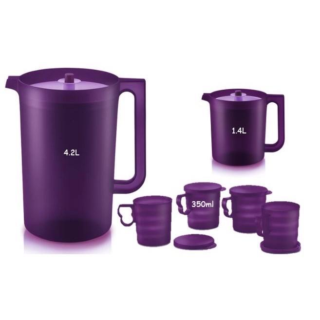 Tupperware Purple Royale Giant Pitcher Set /Royale Mugs & Seal 350ml
