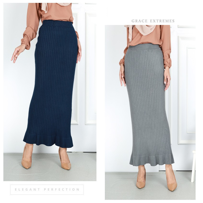 READY STOCK] WINTER SKIRT KAIN DUYUNG IRONLESS / WINTER KNITTED THICK DUYUNG SKIRT
