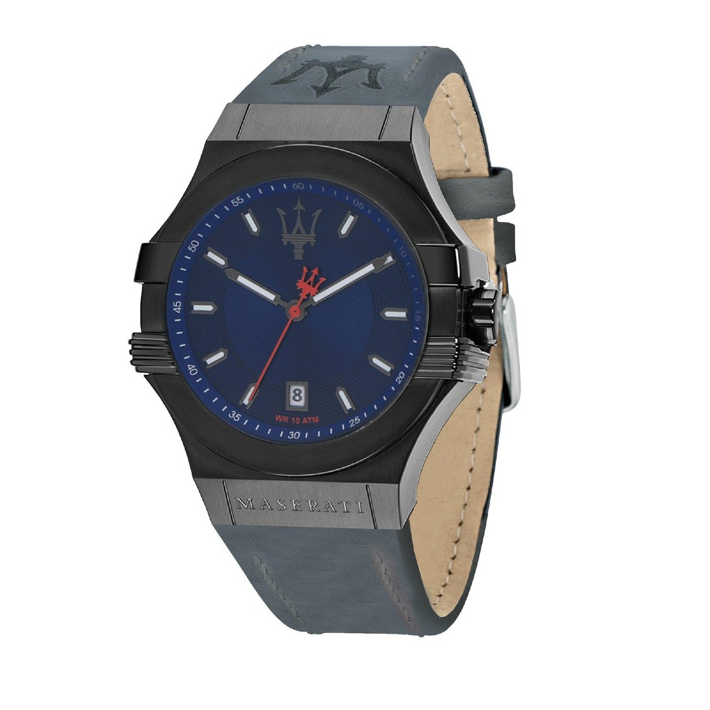 Maserati Potenza Leather Strap Quartz Watch - Blue (45mm) R8851108021