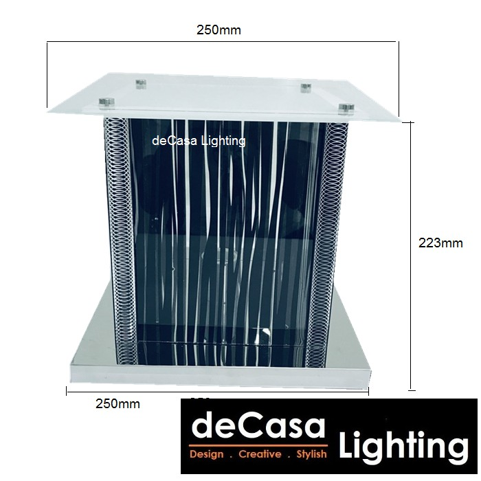 [Set With 9w Led Bulb] 250mm Modern Glass Outdoor Pillar Light Decasa Lighting Outdoor Gate Lamp Lampu Pagar (5038-250)