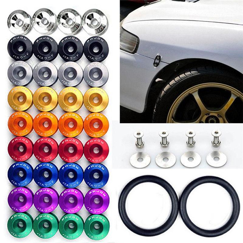 1 Set Quick Release Bumper Fender Trunk Fastener Screw Bonnet Bolt Loop Ring Kit