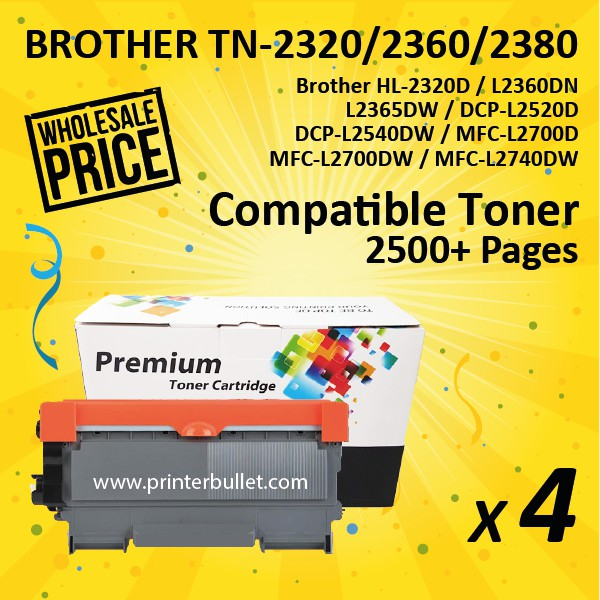 4 unit Brother TN-2360 / TN2360 Compatible High Quality Toner Cartridge