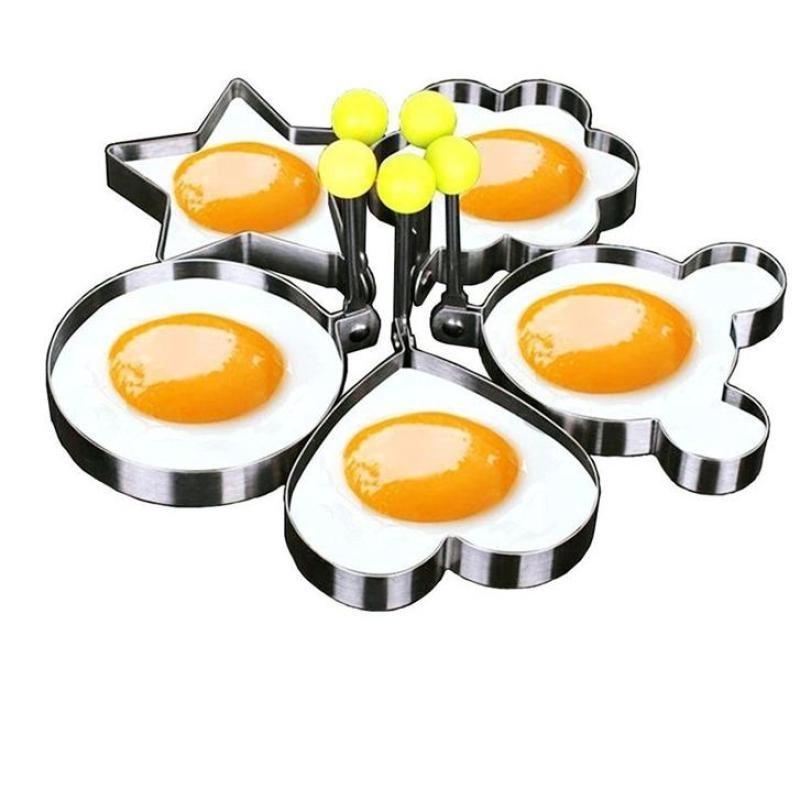 2PCS Non Stick Stainless Steel Fried Egg Omelet Mold Omelette Pancake Breakfast