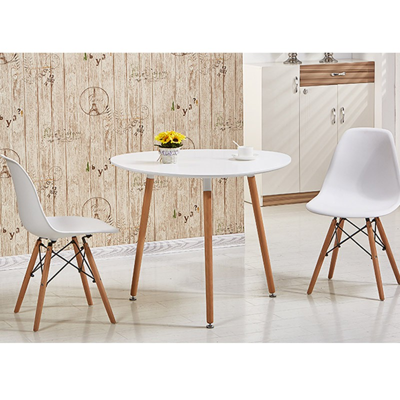 Modern European Style Round Table (80 cm) - 1 Table + 2 Chairs