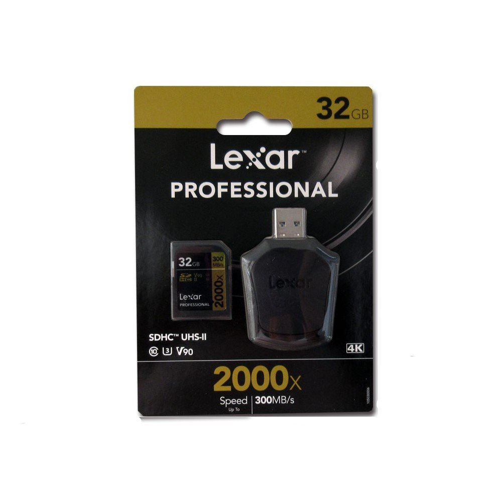 Lexar Professional 2000x 32GB SDHC V90 C10 SD Card Read with Card Reader 300MB/s