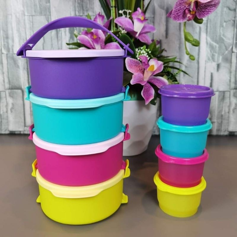 Tupperware Tup Tiffin Set (4) 550ml + PWP Snack Cups 110ml (4)  / Colorful