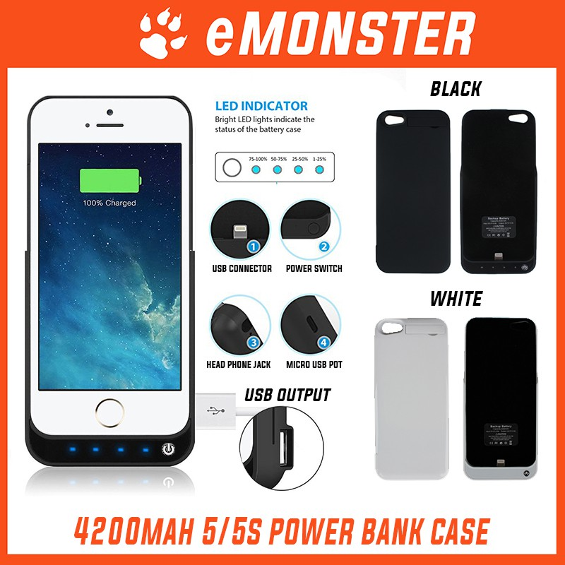 super popular 8293b d5899 Apple iPhone 5/ 5s External Battery Power Bank Cover Case 4200mAh