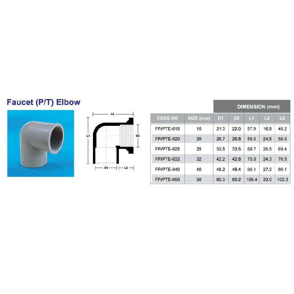 PVC Fittings P/T Elbow 15MM-50MM