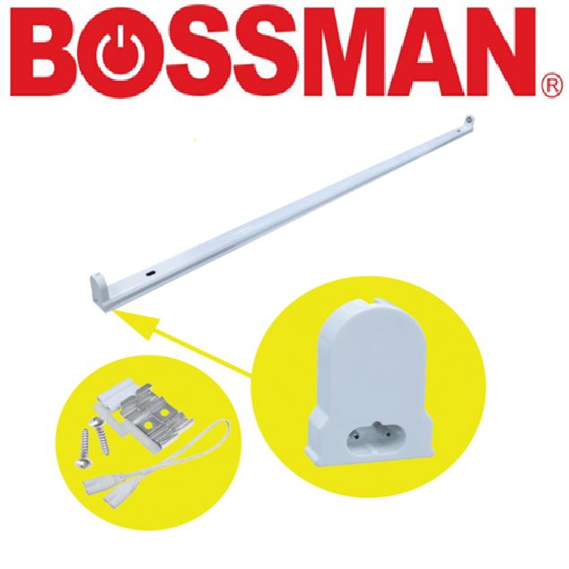 BOSSMAN LED TUBE T8 FIXTURE TYPE TWO WAY WITH 30 CM CONNECTOR  PEMEGANG LAMPU SATU JENIS