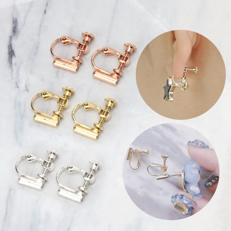 10 PAIRS SILVER//GOLD TONE PIERCED POST TO CLIP-ON EARRINGS CONVERTERS FINDINGS