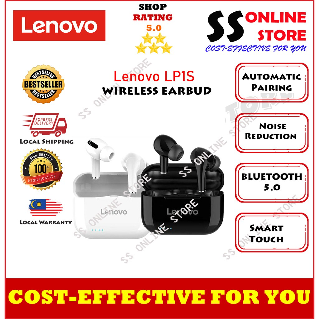 Lenovo New LP1S TWS Wireless Earphone Bluetooth Upgraded Version 5.0 Dual Stereo Touch Control 300mAH