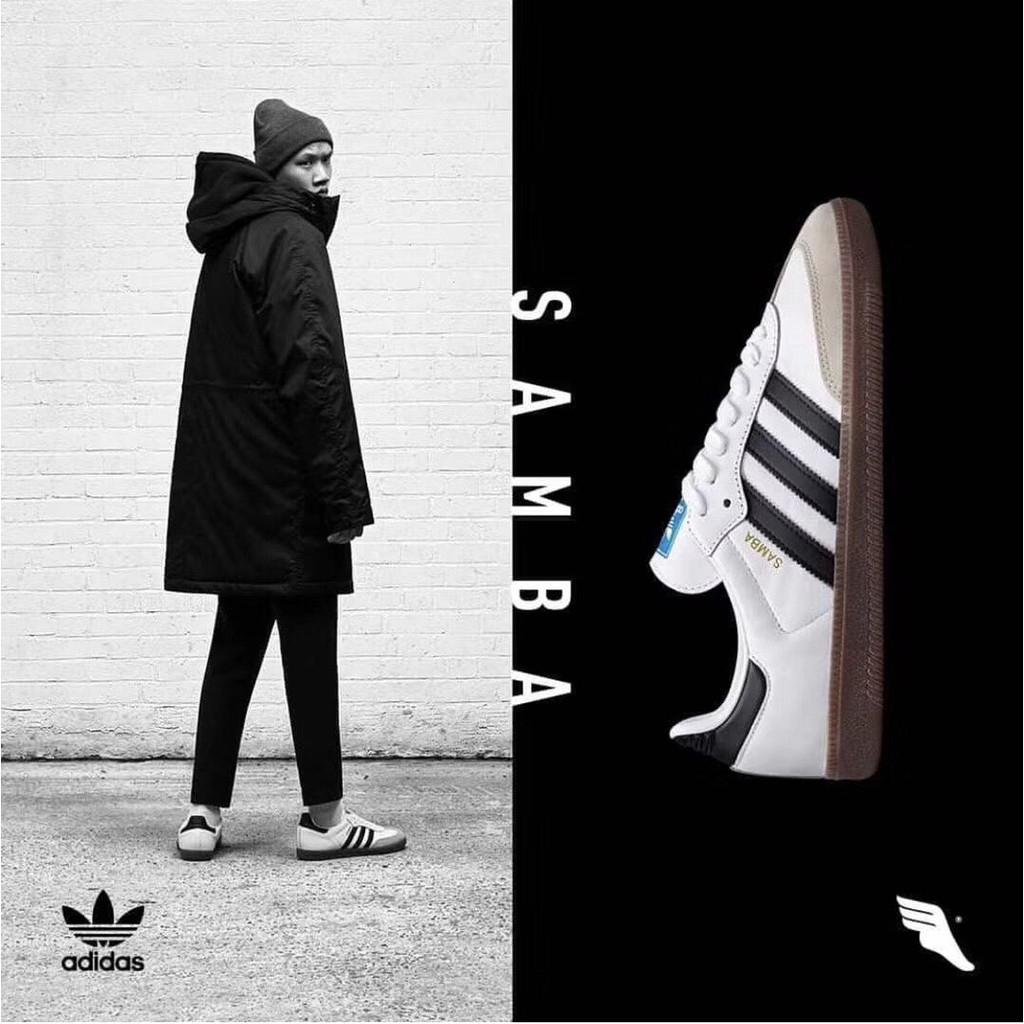 Men's 7 11 Adidas Originals Samba OG White & Green With Gum Sole