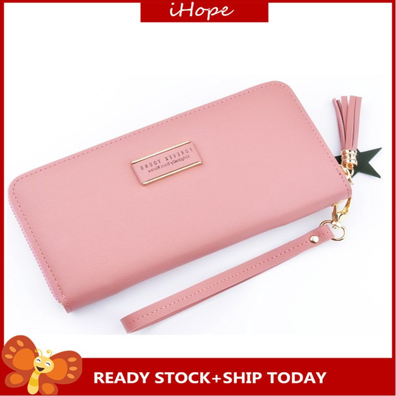 dab396e42b98 Ready Stock!Women PU Leather Long Zip Purse Card Holder Case Phone Coin  Wallet