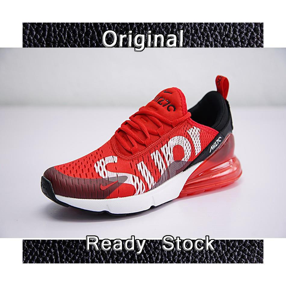 new concept bc11d 30d7a Nike Air Max 270 x Supreme Shoes Men Airmax 27c Running Shoes Sport  Sneakers Red